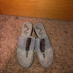 Anne Klein Sport Gray Fancy Sandals Slip On 7.5